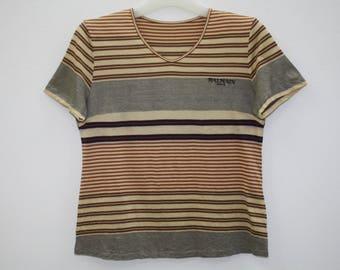 Balmain Paris Striped Cotton V Neck T Shirt Made In Japan Size 38