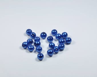 PE309 - Set of 20 blue glass pearl beads