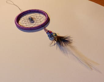 Dream catcher small, handmade, natural feathers and beads