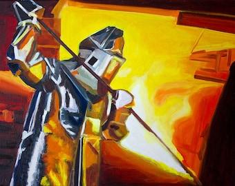 Oil painting-abstract-Molten steel-sereis