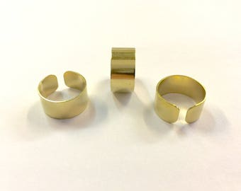 3 rings wide 10mm raw brass for creations of jewels