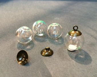 5 glass cabochons 16mm for jewelry hobby fill