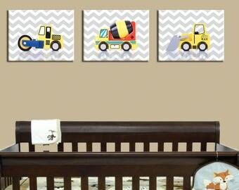 Discount set of 3 constructions prints, construction nursery art, nursery print, nursery decor, construction nursery, construction decor