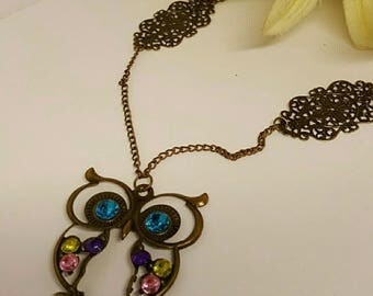 bronze OWL necklace with Rhinestones