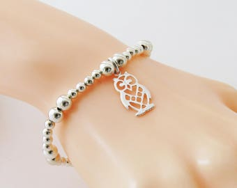 Silver Owl Bracelet, Owl Charm Bracelet, Sterling Silver Owl Jewelry, Wise Owl, Bird Bracelet, Silver Owl Charm, Stacking Bracelet