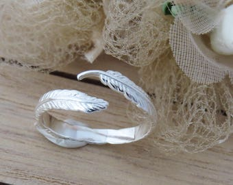 Sterling Silver Open  Feather Adjustable Ring , Adjustable Feather Ring, Silver Angel Feather Ring, Gift For Women, Gift for Her