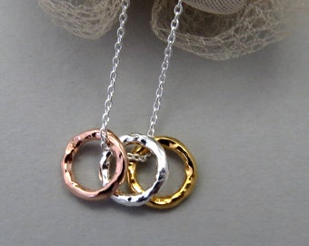 Three Ring Necklace, Gift for Sisters, 30th Birthday Necklace, Gift for Women