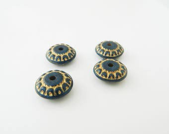 4 x (l281) 17mm blue rondelle beads