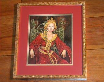 Blonde Queen Guenièvre sitting on his throne Onyx