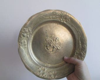 Vintage bronze plate, Austrian dish,Old bronze dish,Wall plate,Vintage wall dish,Vintage home decor,Gift idea,Collector dish,Wall decoration