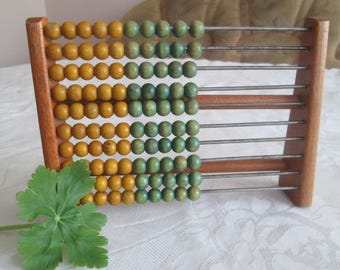 Vintage wooden abacus, Children calculator, Wooden beads, Colorful beads, Calculus tool, Primitive Calculator,Nursery decoration,School tool