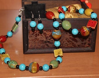 Glass Beads and Blocks Set..  Necklace, Earrings and Bracelet Set. 3 piece set