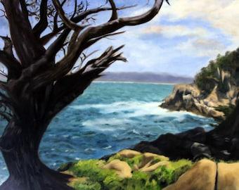 Original landscape oil painting of California coastline