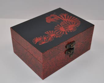 wood box painted red and black Asian inspired