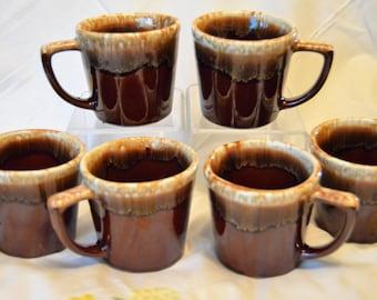Set of 6 Vintage McCoy Brown Drip Glaze Mugs, McCoy Pottery USA, 8oz Size