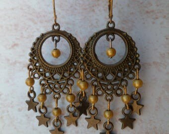 Oriental earrings bronze and yellow