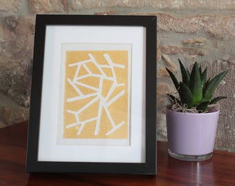 A5 linocut decoration - pattern lines - gold