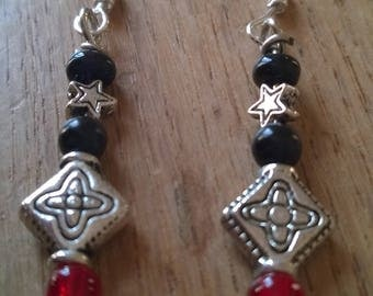 seed beads and Silver earrings