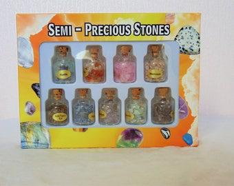 Bottle of gemstone chips