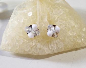 White Stud Earrings Swarovski Crystal