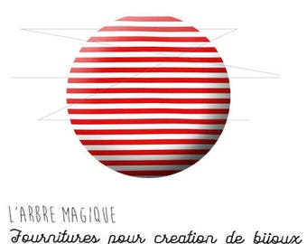 2 cabochons glue sailor red and white ref 1456 glass 20 mm-