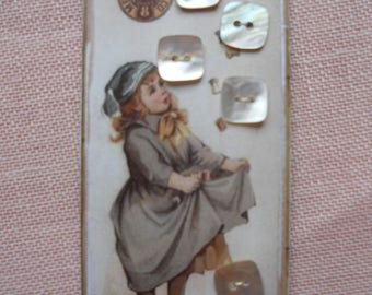 5 vintage cardboard square mother of Pearl buttons