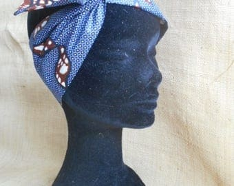 Wax ethnic fabric turban headband floral African