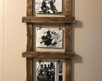 rustic photo holder, ladder photo holder, ladder decor, rustic decor, farmhouse decor, unique photo holder, photo display, nursery decor