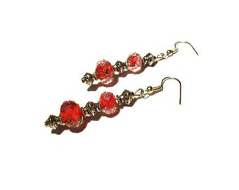 Retro chic earrings, red Lampwork beads