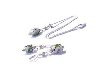 Vintage set 925 sterling silver, white European beads