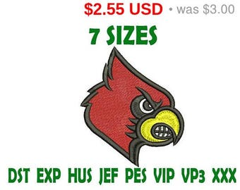 Sale 15% Louisville Cardinals logo embroidery design - Instant Download machine embroidery pattern