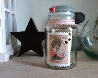 Your pink vintage style glass jar.