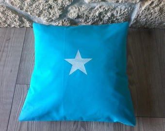 Pillow cover - star-turquoise white sequin star 40 x 40