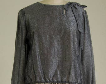 70's Metallic Long Sleeve Blouse