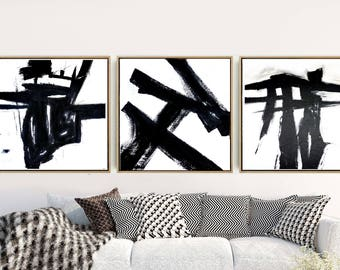 Triptych, Black And White Abstract, Abstract Art Prints, Set of 3 Prints, Abstract Wall Art, Minimalist Prints, Wall Decor, Digital Download