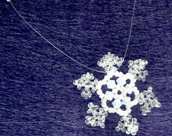 Snowflake necklace white and clear Crystal beads and seed beads
