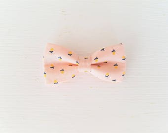 "Hair clip bow tie ""yellow cerisettes"""