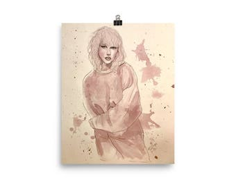 Taylor Swift - Red Wine on Watercolor Paper - Poster