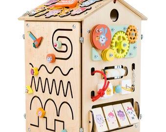 Busy board Busyhouse BabyRiki -  Sensory board Activity board Toddler toys