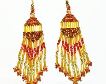 Autumn Gold Beaded Dangle Earrings