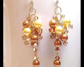 Gold Bronze Pearl Crystal 14K Bridal Wedding Earrings