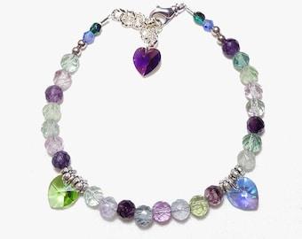 Rainbow Fluorite Gemstone Triple Heart Charm Bracelet