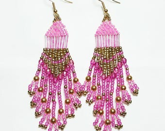 Shades of Pink and Gold Beaded Dangle Earrings