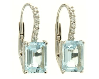 18 kt White Gold Earrings. with Natural AQUAMARINE and round diamonds, brilliant aquamarine Pendants hand upand put