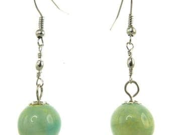 Simple and classic earrings porcelain light green glaze