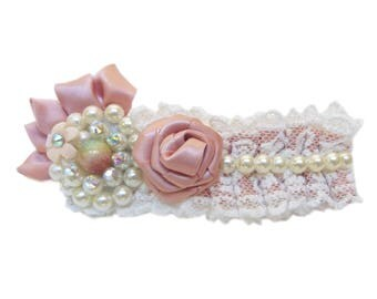 Fine ecru lace pleated pink satin barrette type clip hair clip Pink White pearls