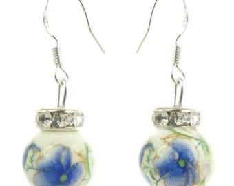 Romantic porcelain blue and rhinestone dangling earrings