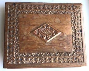 Vintage Handcarved Indian Wooden Trinket Box