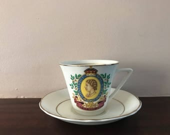 Queen Elizabeth II Coronation Cup and Saucer, 1953 coronation, Mother's Day, valentines, birthday, rule britania