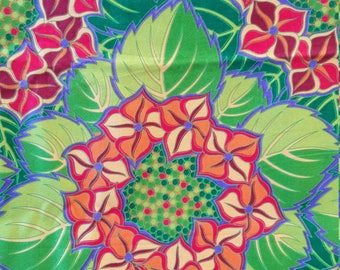 FABRIC, Jane Sassaman, Rare, Out-of-Print, Jane's Floral Fantasy, BTHY quilting sewing fabric, bold bright colorful floral orange lime